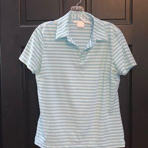 Nike blue striped golf shirt medium 8-10 🏌🏻♀️